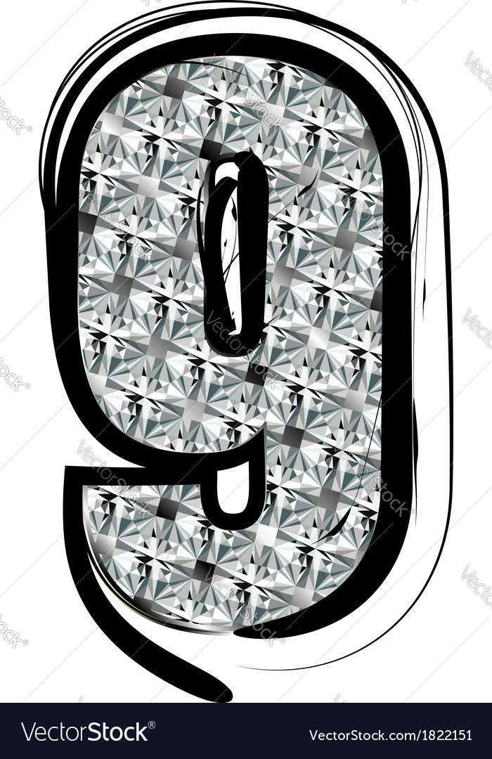 Diamond font number 9 vector | Price: 1 Credit (USD $1)