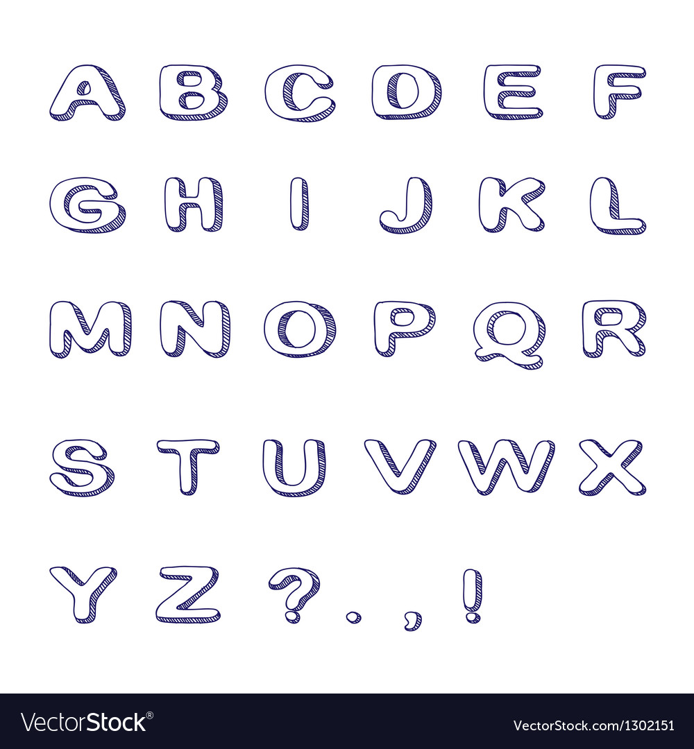 Hand drawn font doodle alphabet childish abc vector | Price: 1 Credit (USD $1)
