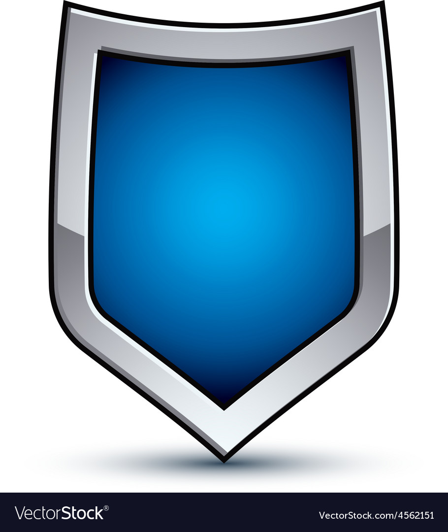 Heraldic blue emblem with silver outline 3d vector | Price: 1 Credit (USD $1)