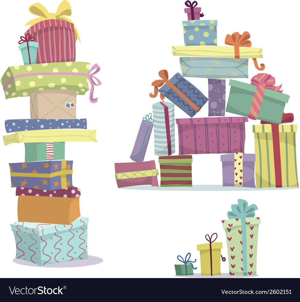 Piles of presents doodle heaps of gift boxes vector | Price: 1 Credit (USD $1)