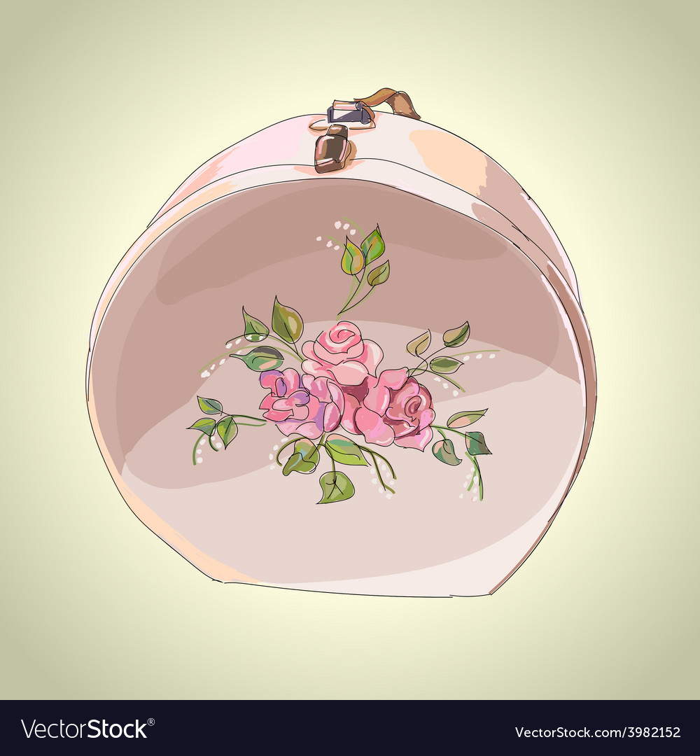 Beautiful hat box with flower ornament vector | Price: 3 Credit (USD $3)