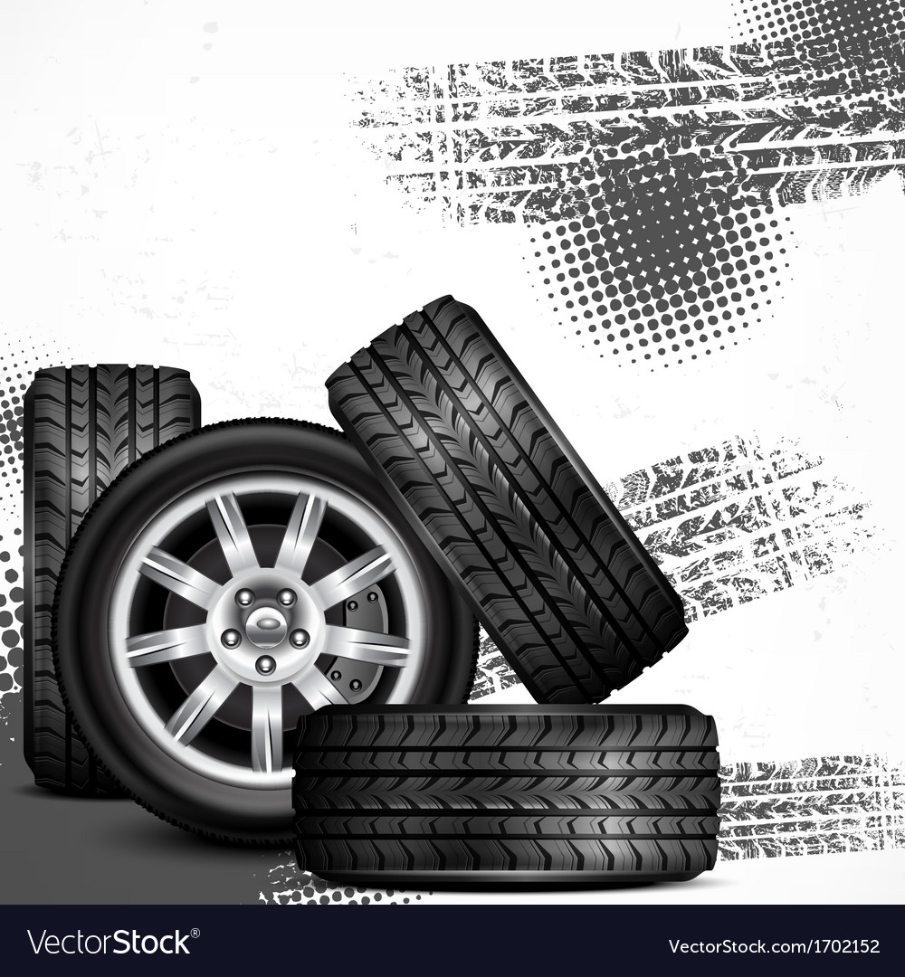 Car wheels and tire tracks vector | Price: 1 Credit (USD $1)