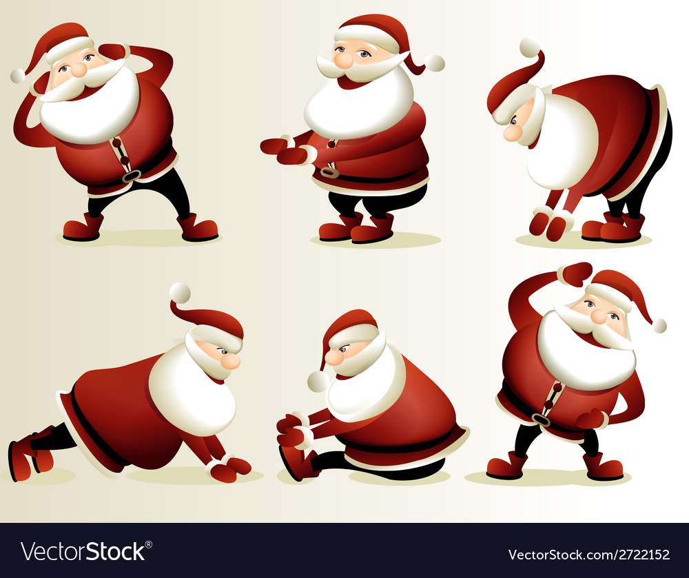 Cartoon santa claus gymnastics vector