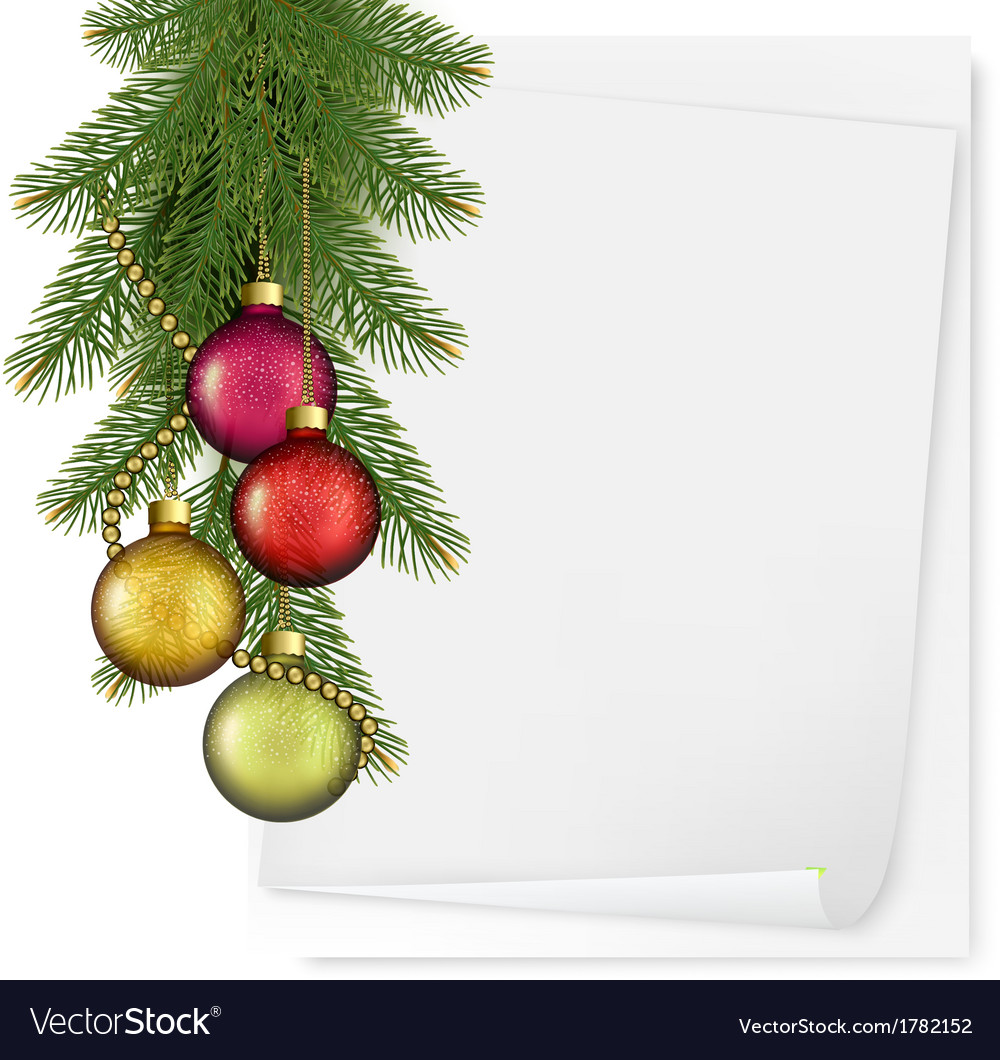 Christmas background with balls and branches vector   Price: 1 Credit (USD $1)