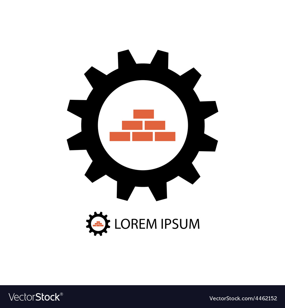 Construction logo wih gear wheel and bricks vector