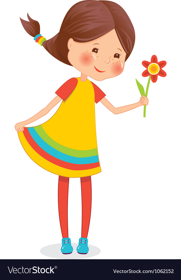 Girl with flower vector | Price: 3 Credit (USD $3)