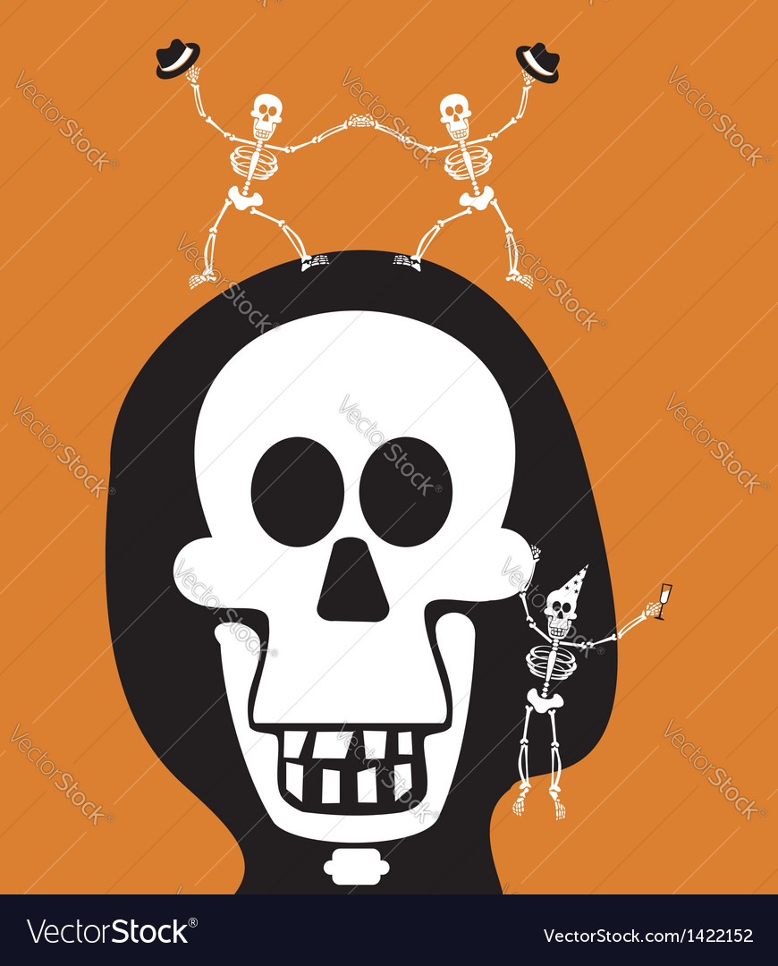 Halloween greetings skulll background vector | Price: 1 Credit (USD $1)