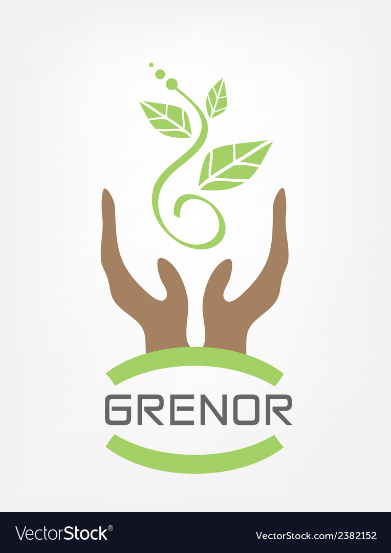 Human hands hold green plant vector | Price: 1 Credit (USD $1)