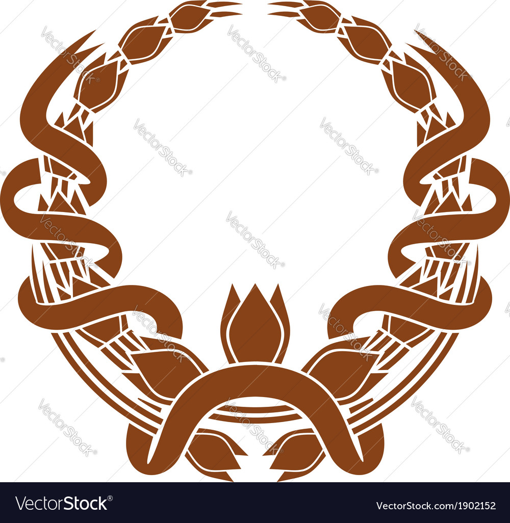Laurel wreath with a serpentine ribbon vector | Price: 1 Credit (USD $1)