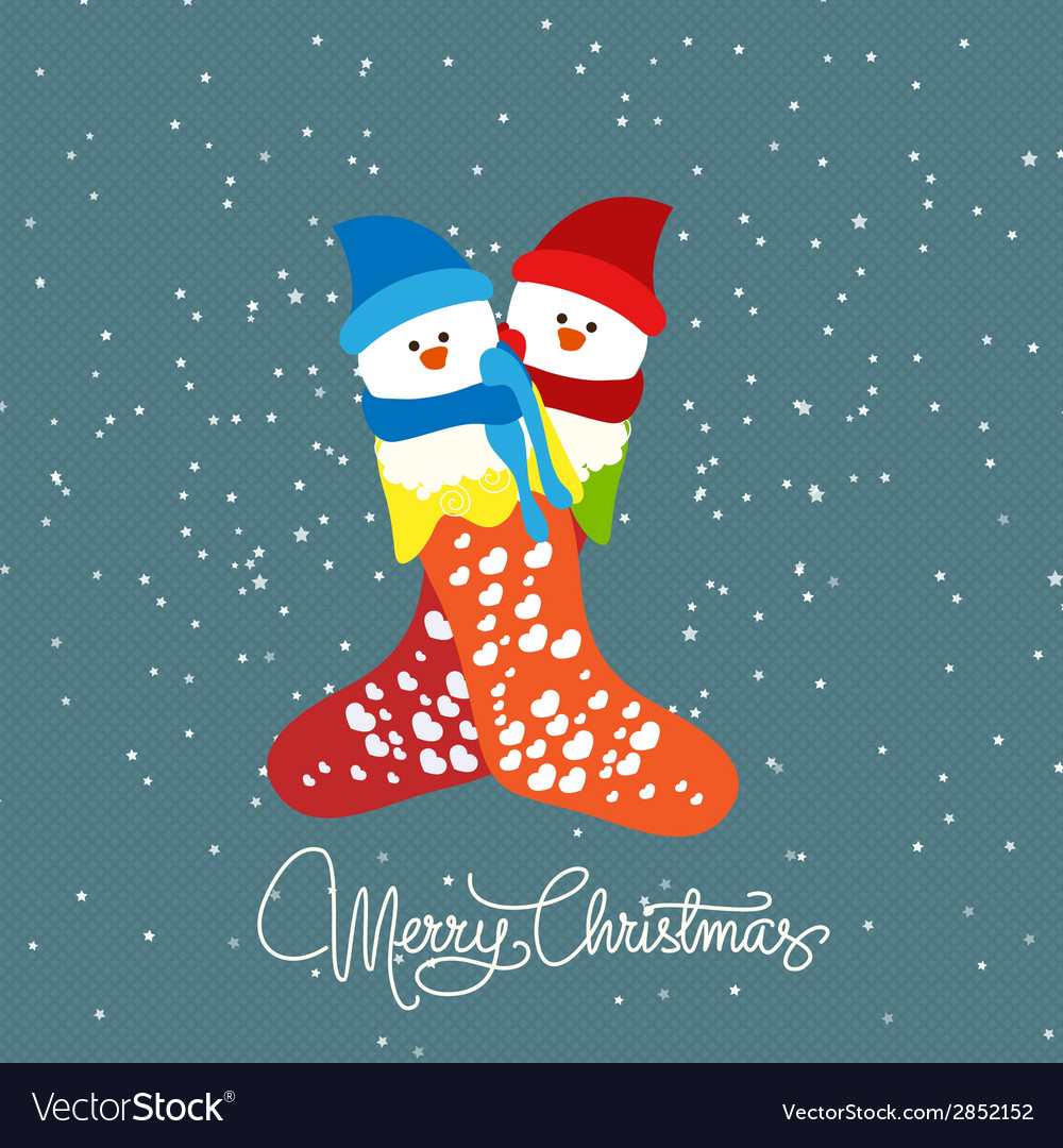 Merry christmas with couple snowman vector | Price: 1 Credit (USD $1)