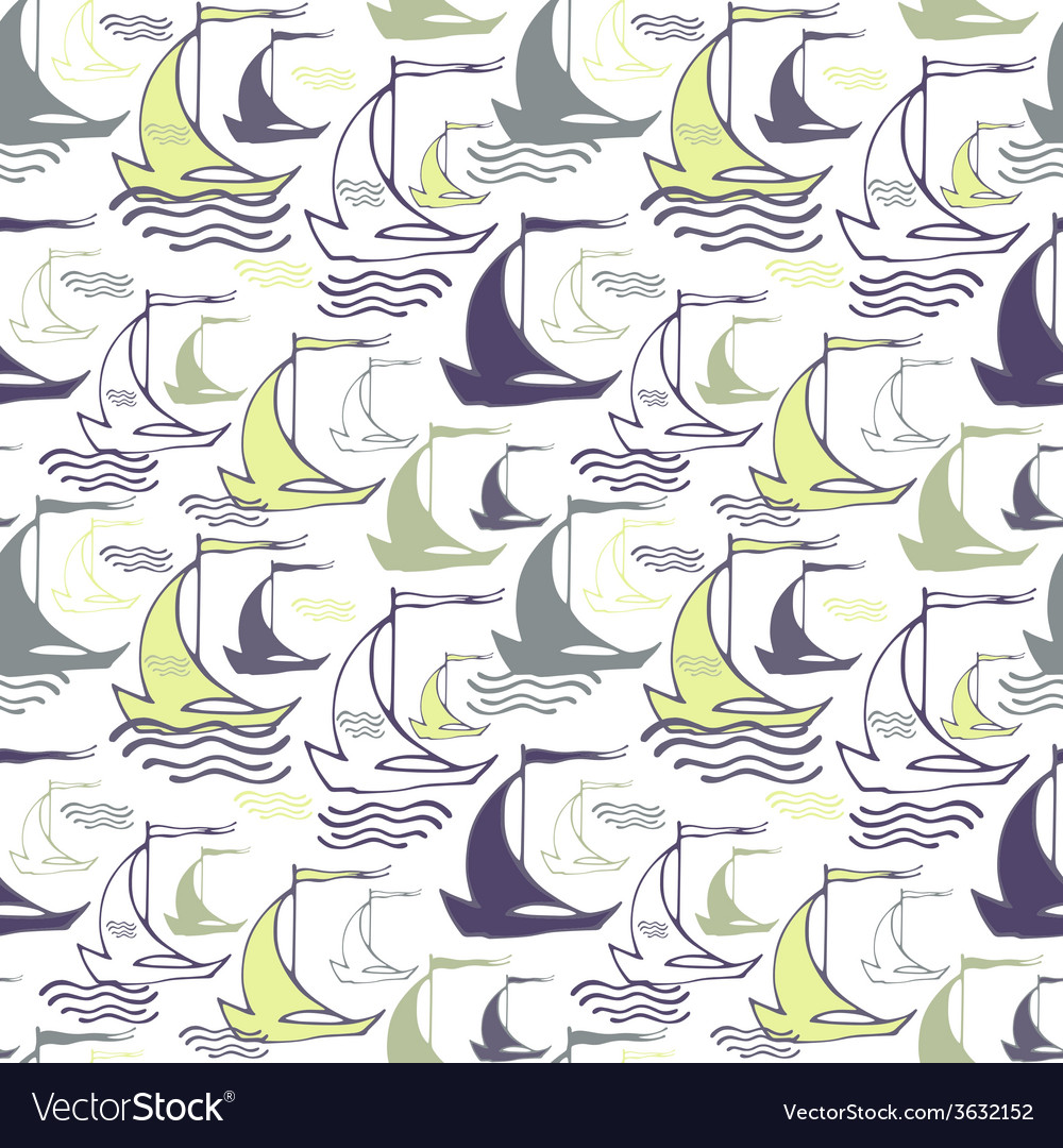 Seamless nautical pattern with decorative sailing vector | Price: 1 Credit (USD $1)