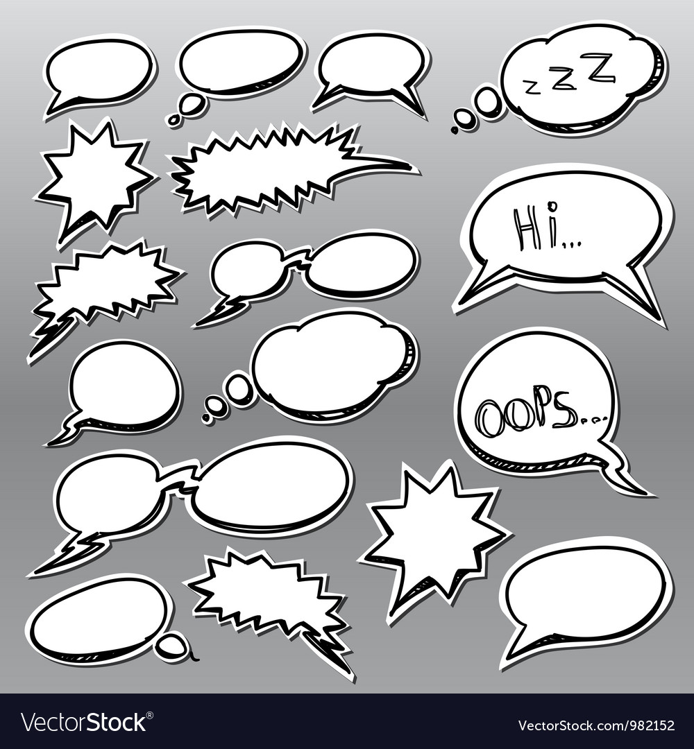 Set of comic style talk clouds vector | Price: 1 Credit (USD $1)