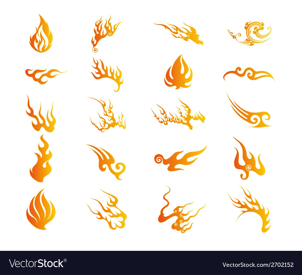 Set of graphic design elements - fire floral vector | Price: 1 Credit (USD $1)