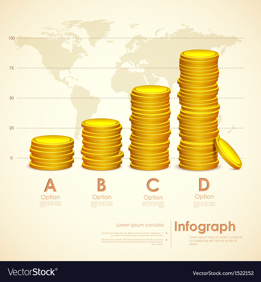 Stack of gold coin vector | Price: 1 Credit (USD $1)