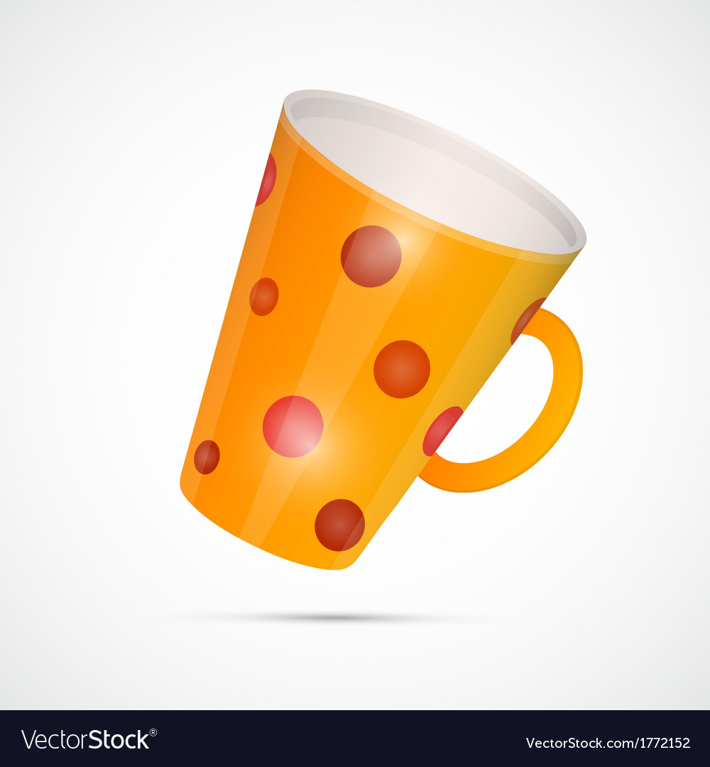 Yellow cup with red dots isolated on white vector | Price: 1 Credit (USD $1)