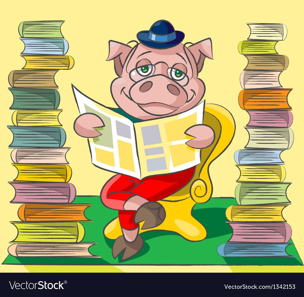 Bibliophile pig vector | Price: 3 Credit (USD $3)
