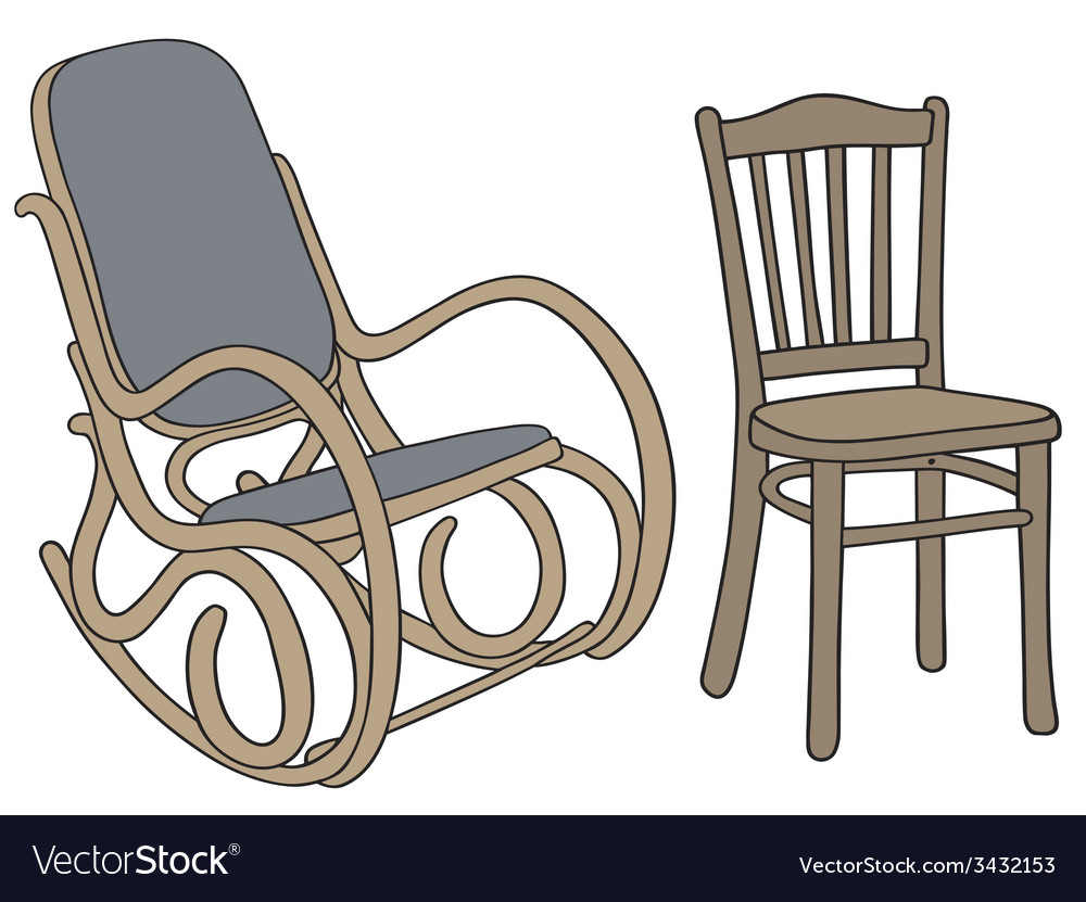 Classic wooden rocker and chair vector | Price: 1 Credit (USD $1)