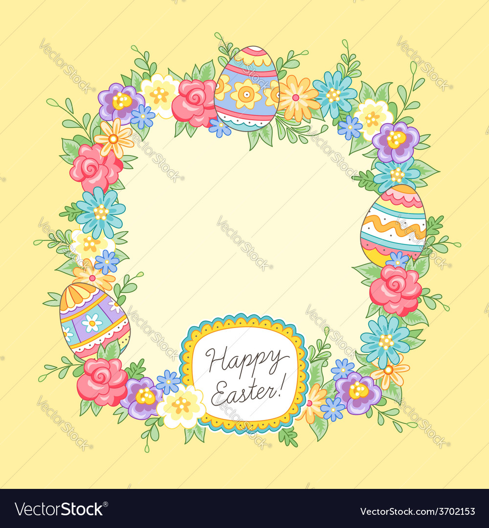 Easter wreath yellow vector | Price: 1 Credit (USD $1)