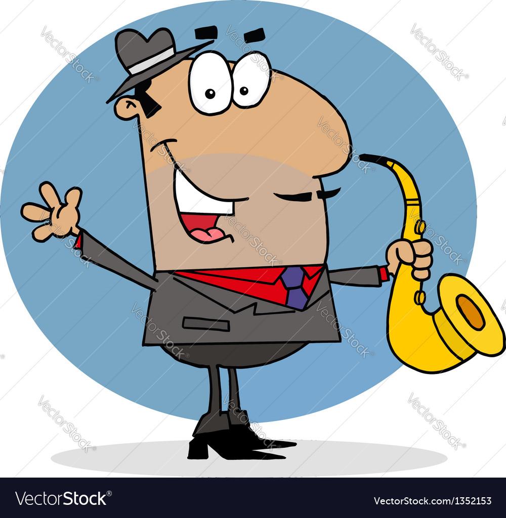 Hispanic saxophone player man vector | Price: 1 Credit (USD $1)