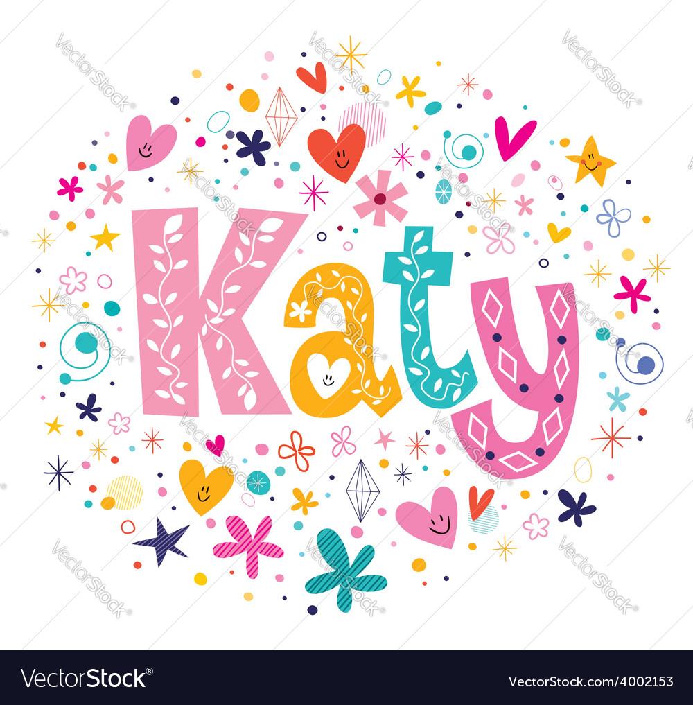 Katy female name decorative lettering type design vector | Price: 1 Credit (USD $1)
