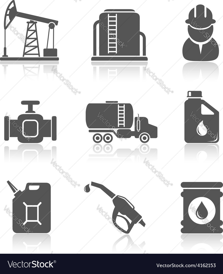 Oil industry petroleum processing icons set vector | Price: 1 Credit (USD $1)