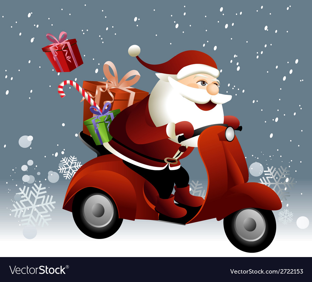 Santa claus riding a scooter vector