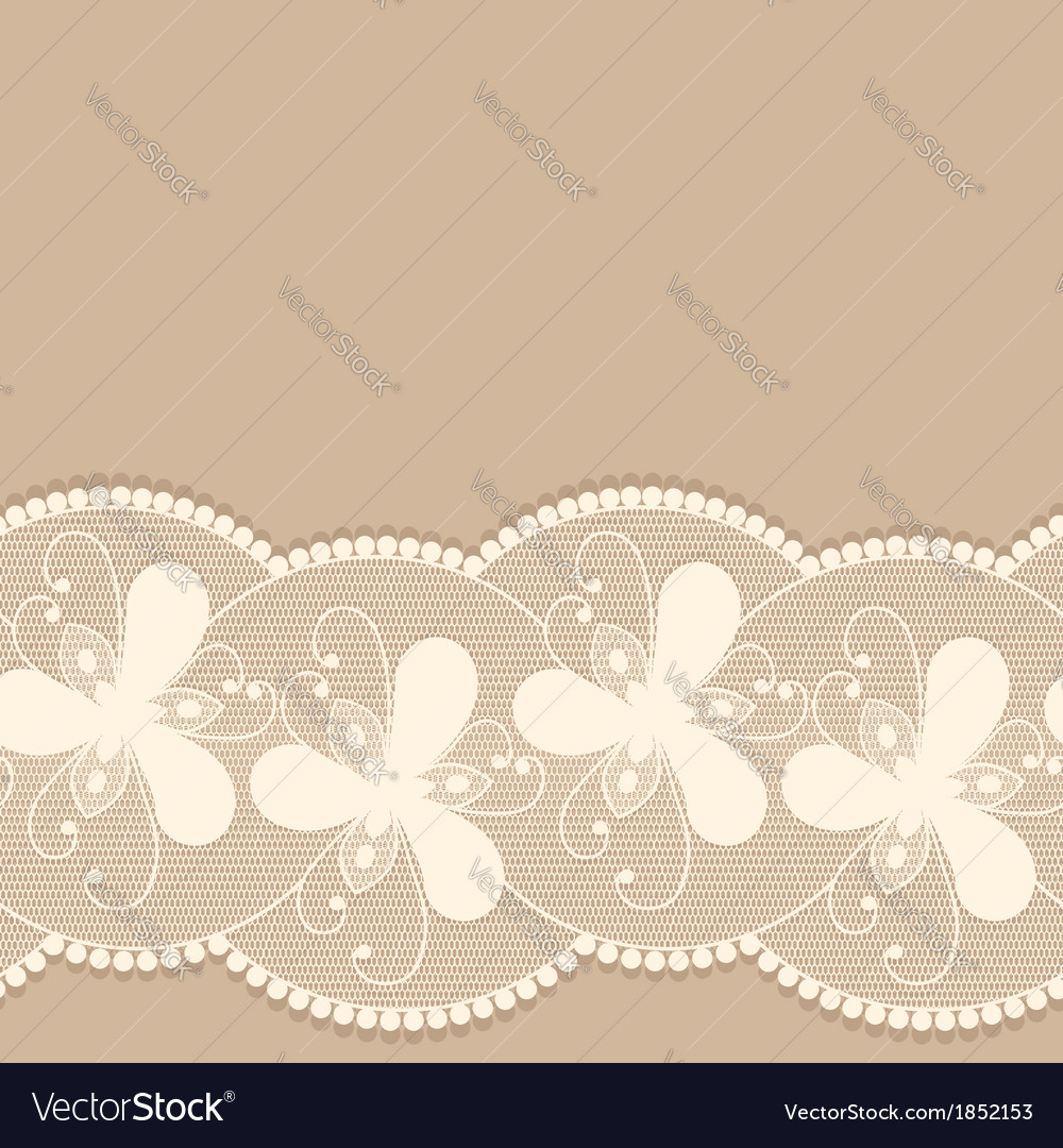 Seamless lacy border on beige background vector | Price: 1 Credit (USD $1)
