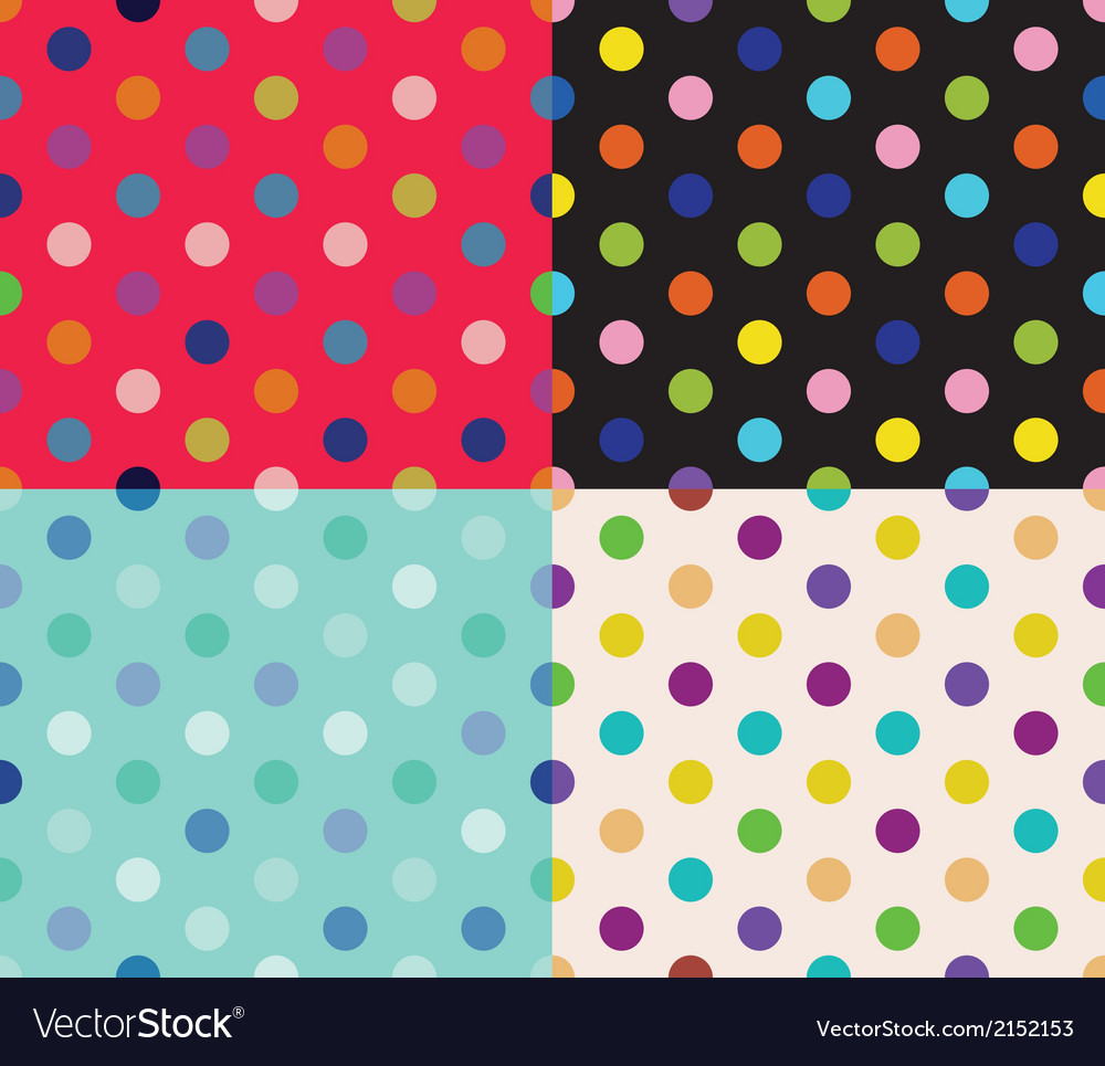 Set of four polka dot patterns vector | Price: 1 Credit (USD $1)
