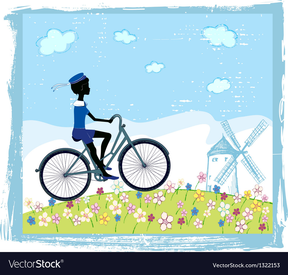 Silhouette of boy on bike vector | Price: 1 Credit (USD $1)