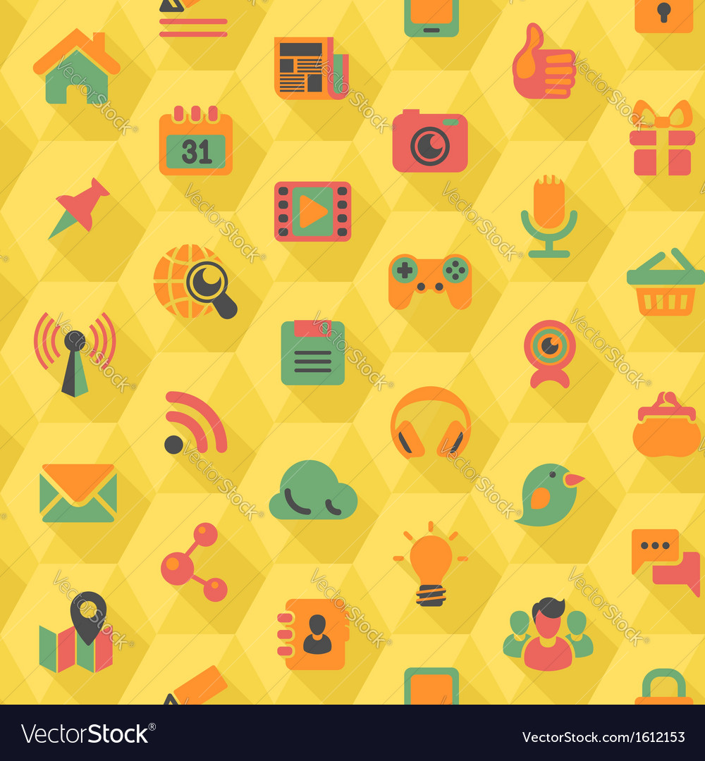 Social networking hexagon yellow pattern vector | Price: 1 Credit (USD $1)
