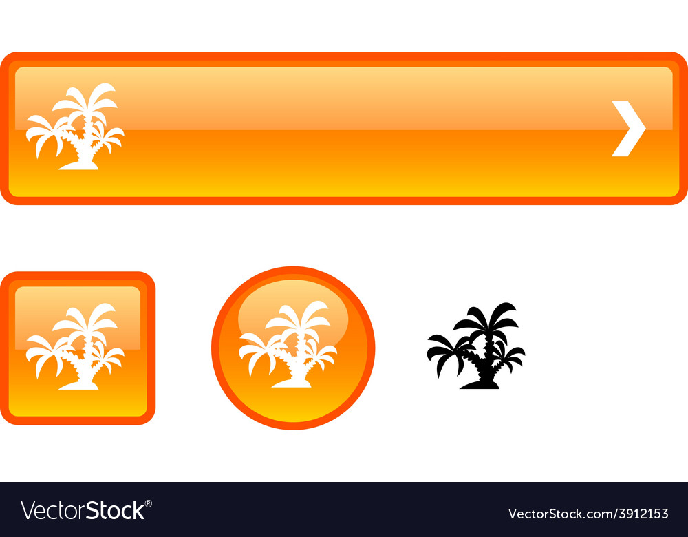 Tropical button set vector | Price: 1 Credit (USD $1)