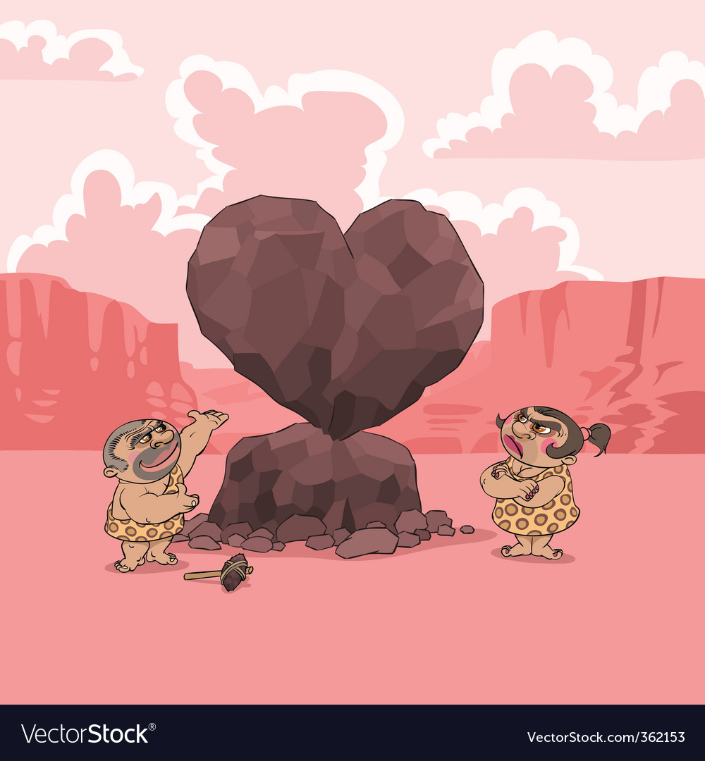 Valentines day stone age vector | Price: 3 Credit (USD $3)