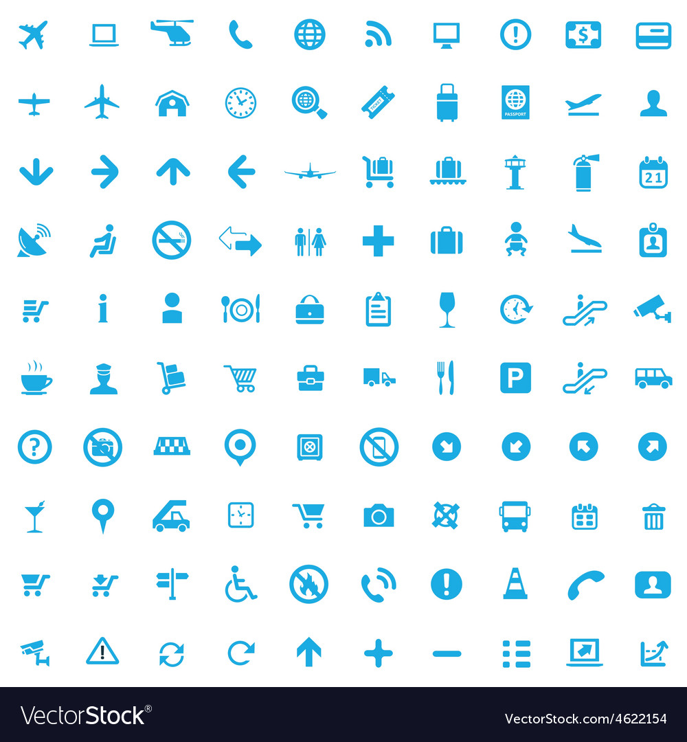 100 airport icons vector