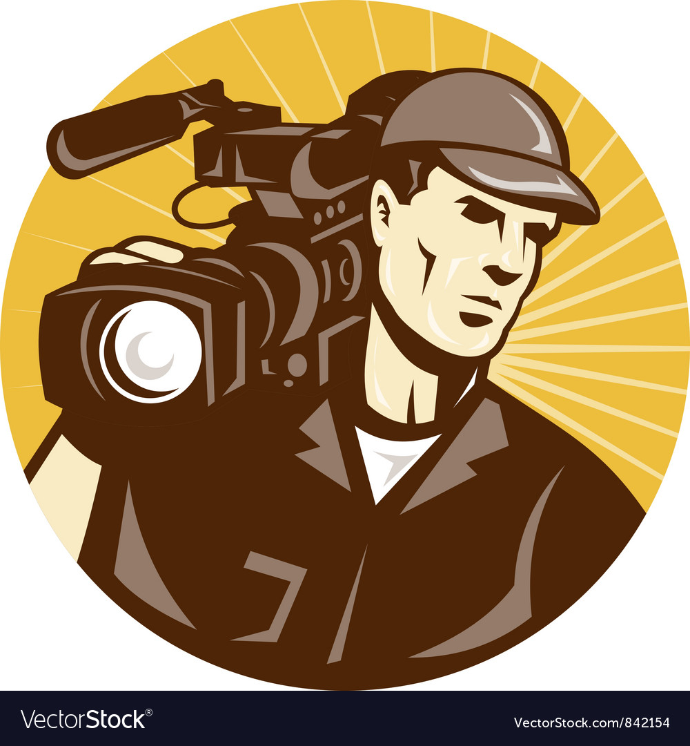 Cameraman film crew pro video movie camera vector | Price: 1 Credit (USD $1)