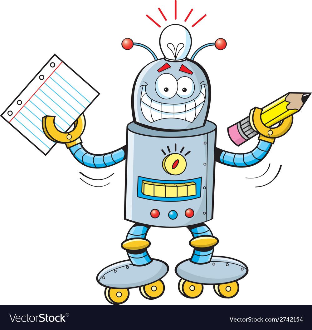 Cartoon robot student vector | Price: 1 Credit (USD $1)