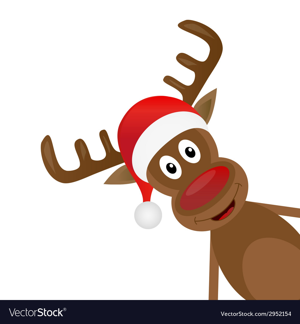 Christmas reindeer in a red scarf vector | Price: 1 Credit (USD $1)