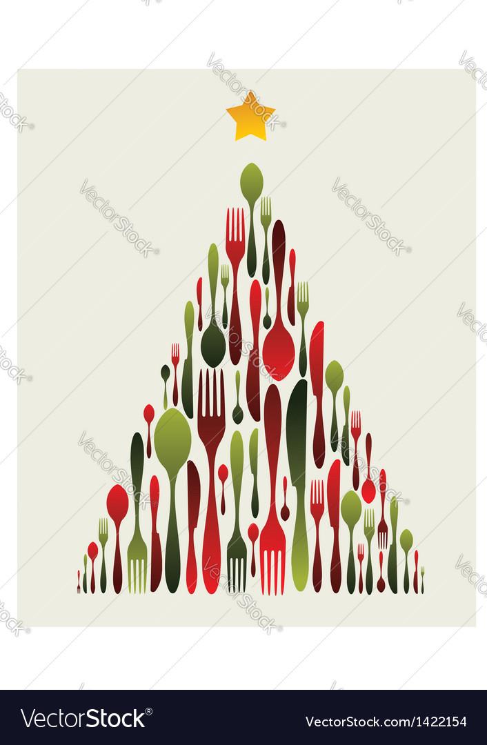 Christmas tree cutlery vector | Price: 1 Credit (USD $1)