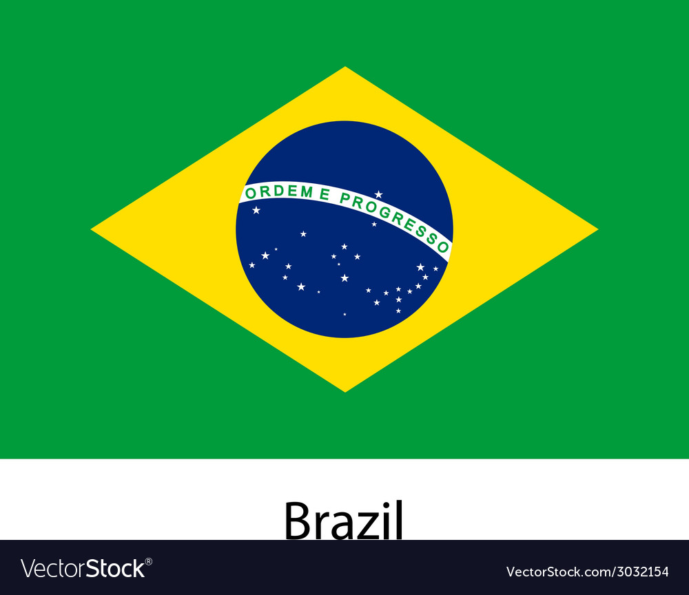 Flag of the country brazil vector | Price: 1 Credit (USD $1)