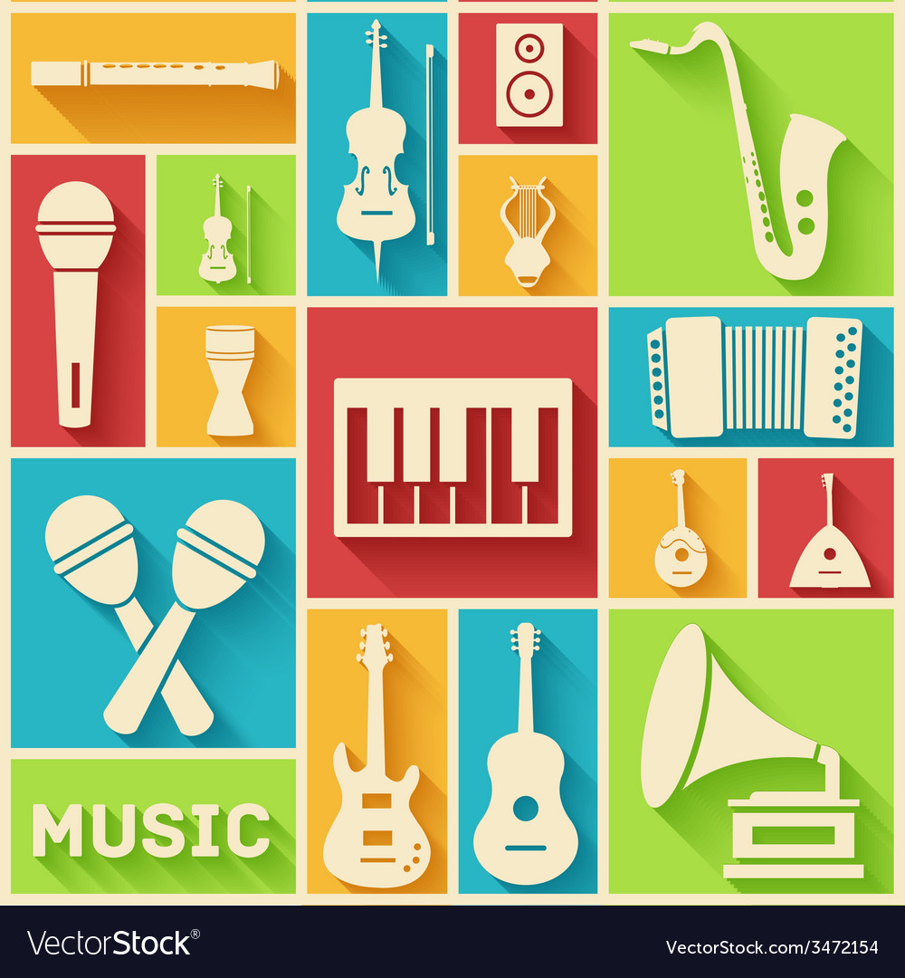 Flat music instruments background concept vector | Price: 1 Credit (USD $1)