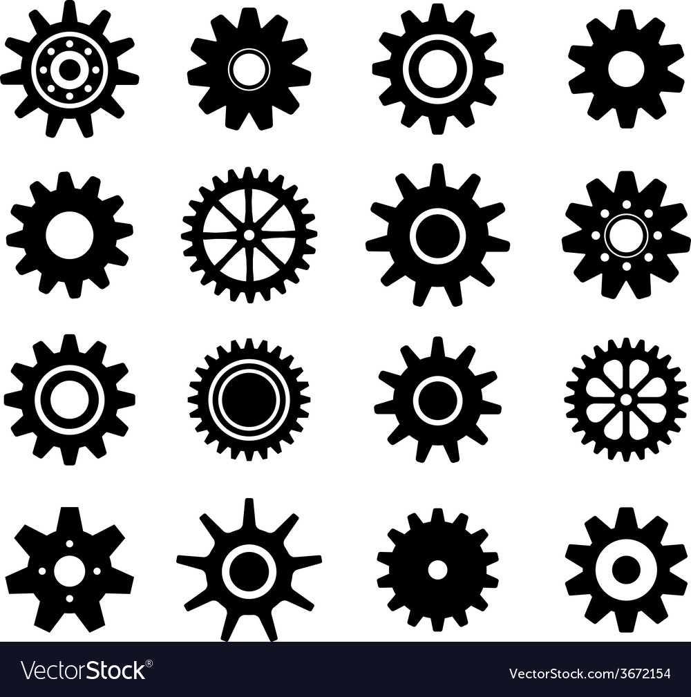 Gear cogs wheels icons set vector | Price: 1 Credit (USD $1)