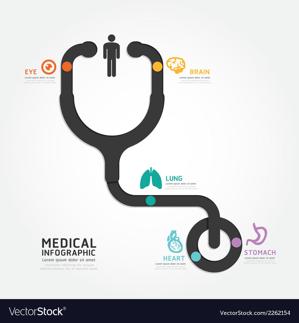 Infographics medical design stethoscope diagram vector | Price: 1 Credit (USD $1)