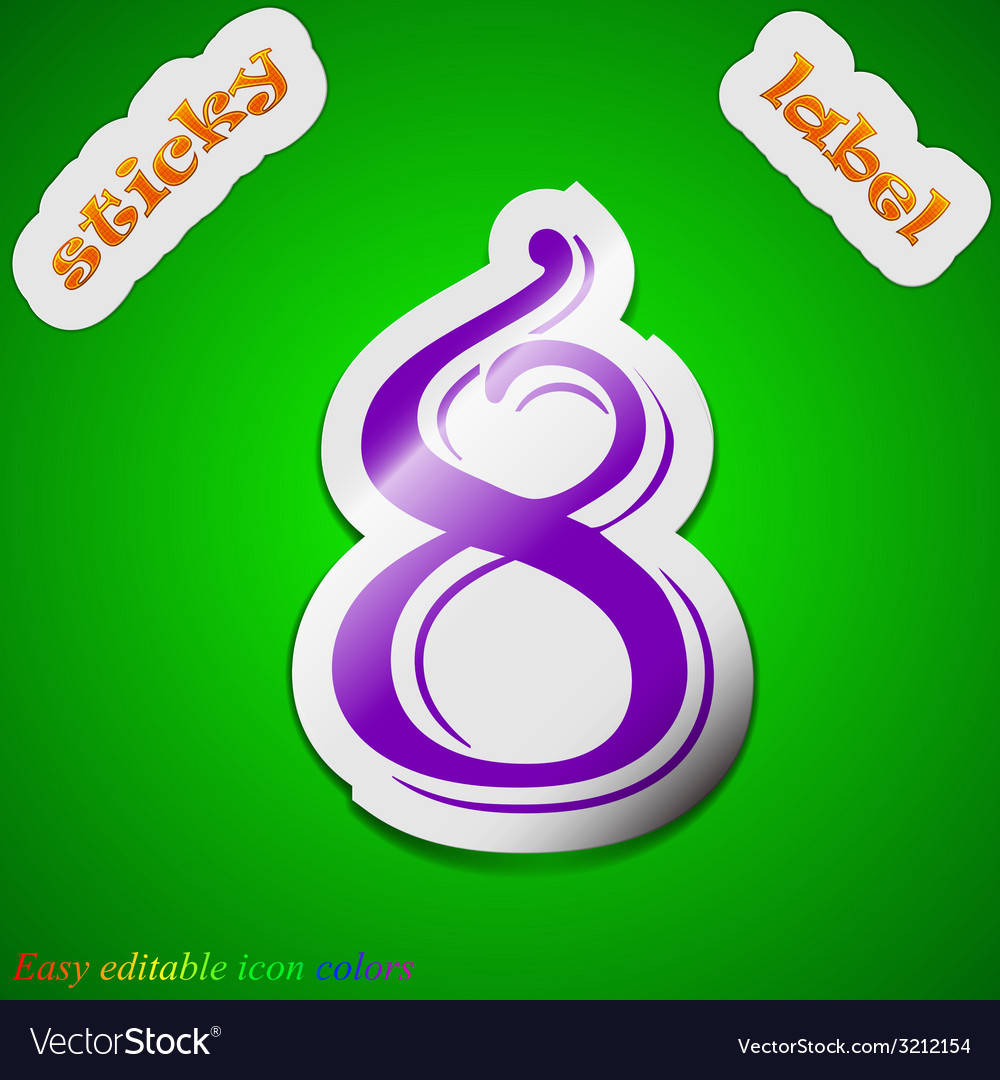 Number eight icon sign symbol chic colored sticky vector | Price: 1 Credit (USD $1)
