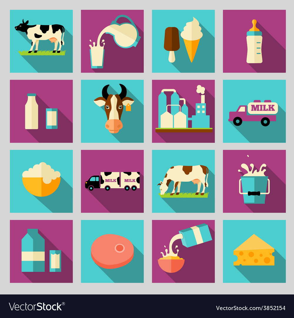 Set of icons for milk dairy products production vector | Price: 1 Credit (USD $1)