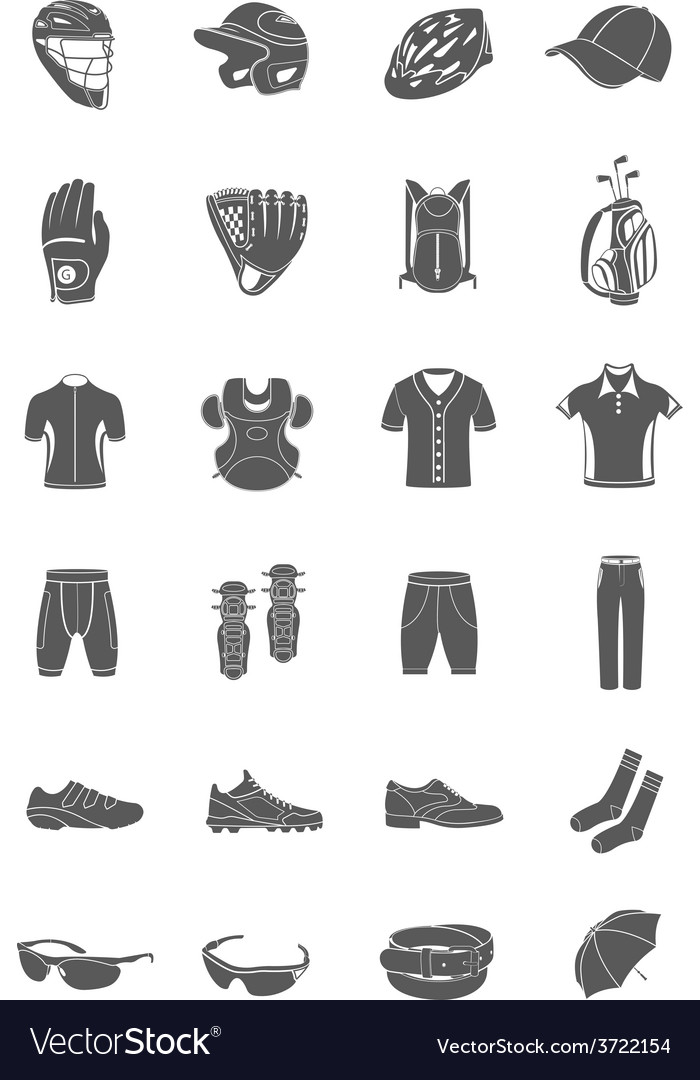 Set of icons sports accessories and clothes vector | Price: 1 Credit (USD $1)