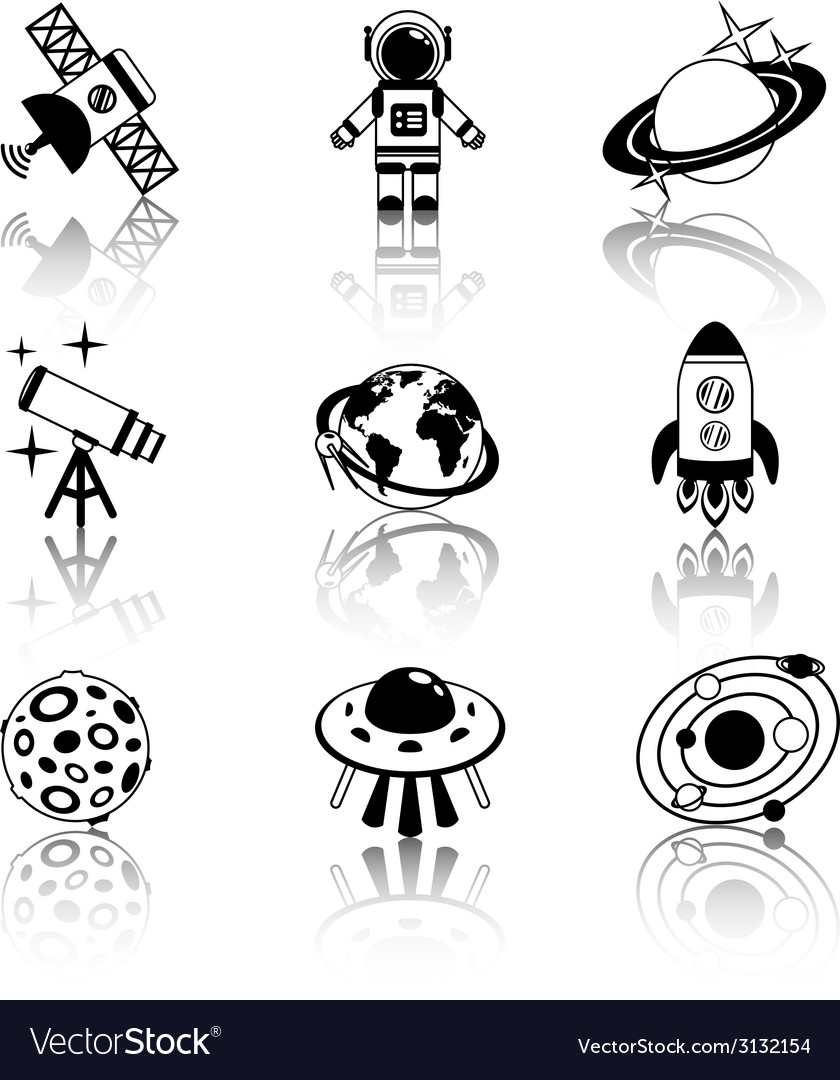 Space icons black and white set vector | Price: 1 Credit (USD $1)