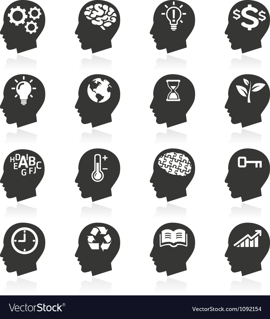 Thinking head icons vector | Price: 1 Credit (USD $1)
