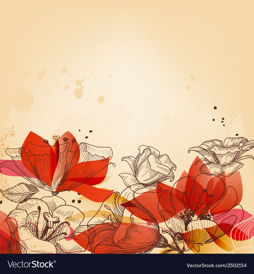 Vintage floral card abstract red flowers vector | Price: 1 Credit (USD $1)