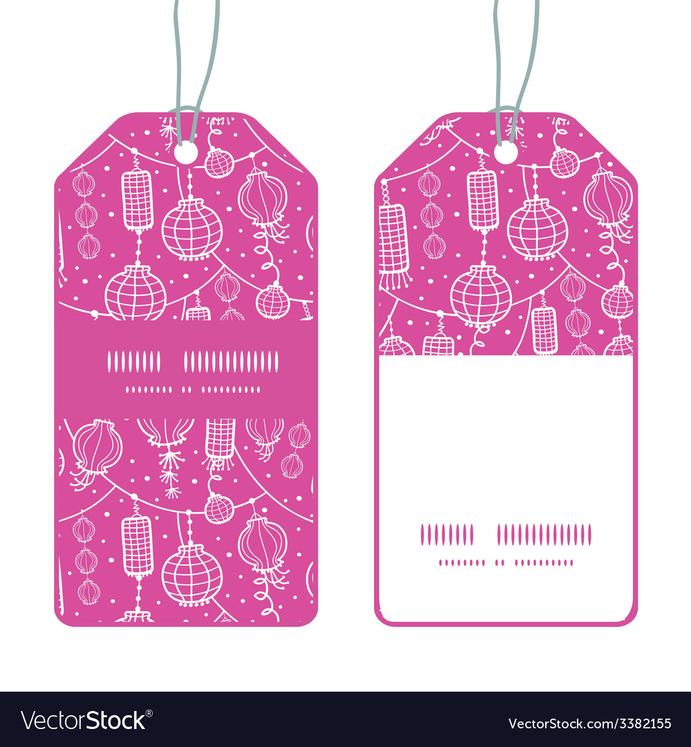 Holiday lanterns line art vertical stripe frame vector | Price: 1 Credit (USD $1)
