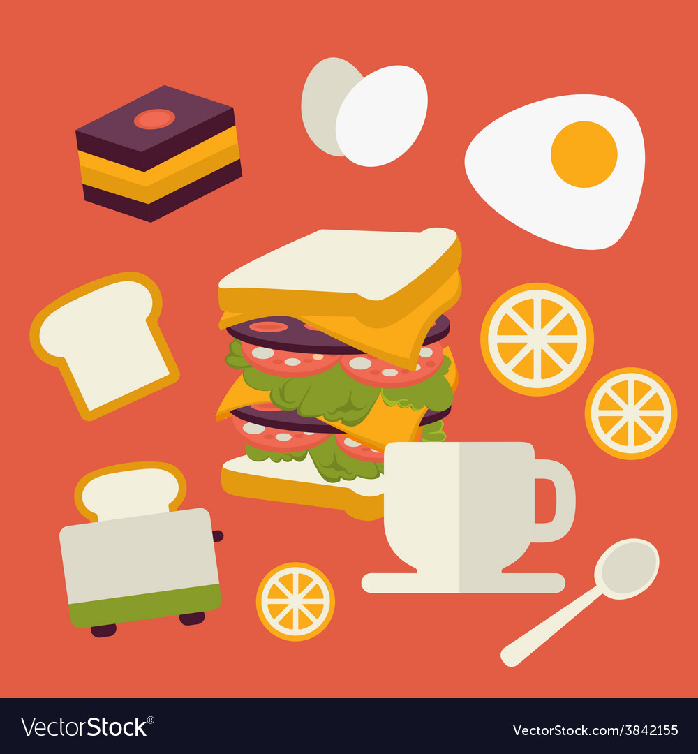 Icons set with fresh breakfast food and vector | Price: 1 Credit (USD $1)