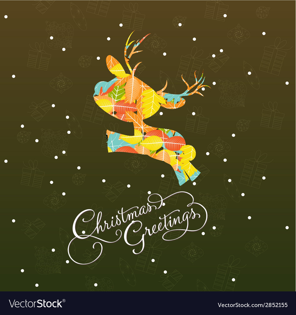 Merry christmas card with deer retro vector | Price: 1 Credit (USD $1)